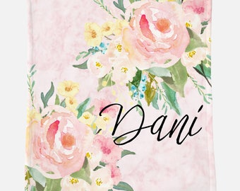 Monogrammed Blanket for Adult | Pink Floral | Monogrammed Blanket | Monogrammed Gift