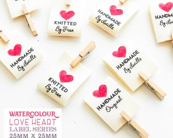 28 Pack Personalised Handmade Love Heart Loop Fold Cotton Fabric Sewing Labels//Gift For Knitters//Stocking Filler//Handmade Christmas Gift