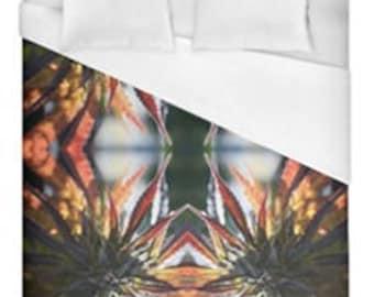 Leaf Duvet Cover,Bohemian Duvet Cover Blue Mountain Lion Cannabis Print,Duvet Cover Floral, Leaf Bedding,Hippy Decor, Duvet Cover Queen