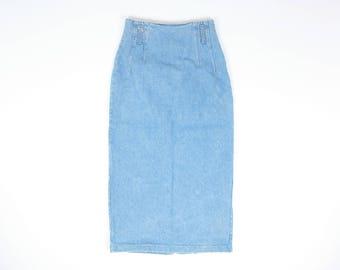 Denim Skirt Size 26 - High Waisted Denim Pencil Skirt - Denim Skirt S - Medium Wash Denim Skirt Small - 80s Denim Skirt - 90s Denim Skirt S