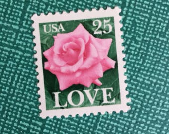 20 Love Pink Rose Stamps, Unused Vintage Postage, Wedding Stamps, Please read description, Face Value 25 cents each