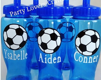 Personalized SOCCER water Bottle, Soccer Sports Bottle, Soccer party favor, Soccer Kids Plastic bottle, Soccer team gift, Soccer for kids