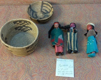 Vintage Old Papago Native American Indian Basket Baskets Dolls Tribal Ethnic