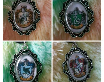 Harry Potter House Crest Glass Cabochon Black Necklace Chokers Slytherin Gryffindor Hufflepuff Ravenclaw Handmade