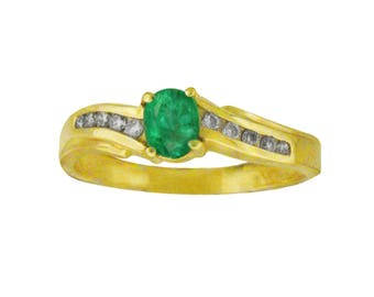Genuine Natural  flawless  Oval Emerald Diamond Ring in 14K Yellow Gold: Free Shipping in USA