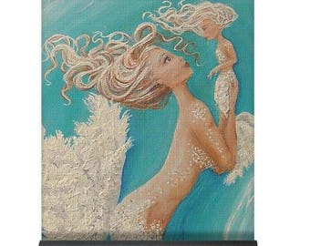 Mermaid yoga mat, teal exercise yoga pad, mermaid gift, Original mermaid art by Nancy Quiaoit