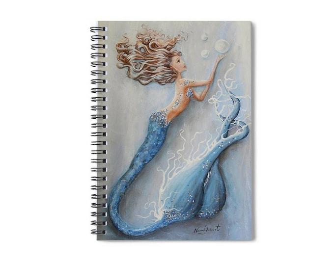 Mermaid notebook, mermaid lined spiral writing journal, mermaid gift,  Original art by Nancy Quiaoit.