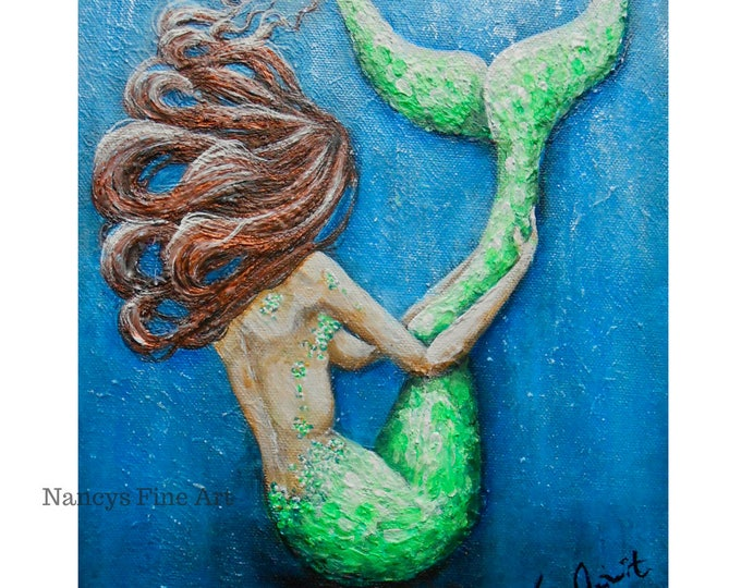 Original mermaid painting on canvas, Little Mermaid painting, beautiful mermaid art by Nancy Quiaoit.