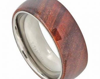 Domed Titanium Ring with Hawaiian Koa Wood Inlay – 8mm