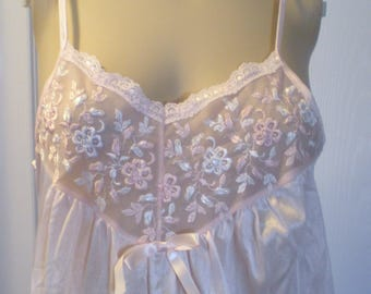 Vintage Nightgown Peachy Pink Delicate Floral front Size S Spaghetti Straps USA