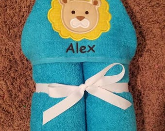 Personalized Lion Hooded Towel