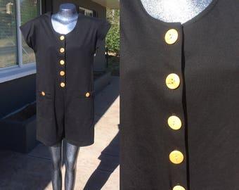 90s Medium Black  Romper Jumper Onesie Jumpsuit Shorts button up Nineties Eighties Romper