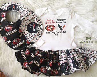 Custom House Divided Football Bodysuit Dress and Bib ( 49ers- Texans ) But They Both Love Me 2pc Set Houston Texans-49ers