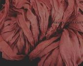 Sari Silk, Dark Coral Mix, Per Yard, Recycled Sari Silk, Fair Trade, Textile, Ribbon, Yarn, Pink Ribbon, Sari, ArtWear Elements, 201b