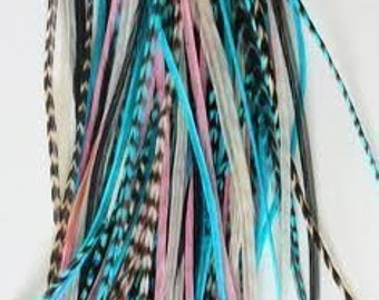 """4""""-6"""" Gorgeous Light Pink, Turquoise, Blue, White Grizzly 5 Feathers"""