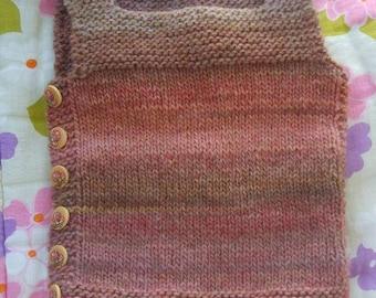 Knit  vest  pebble wool  baby