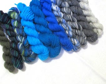 "Mini skeins of sock yarn, ca 50 g,  colour ""Azure 'n Marble"", fingering weight mini skeins, wool, sockyarn mini skeins, colour palette"