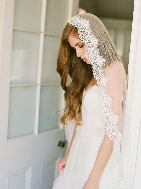 English Net Veil , Mantilla veil, Alencon lace veil, Boho veil, Vintage veil, Gossamer Veil- ASHLEY LEIGH Veil