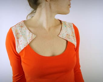 bright orange and liberty collar organic t-shirt