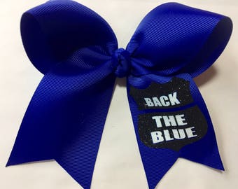 Back The Blue- cheer style bow