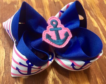 Pink Anchors Away bow