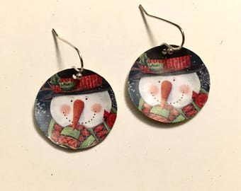 Snowman Recycled Tin Earrings