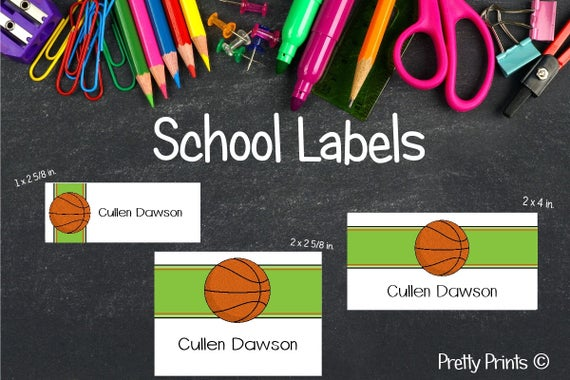 Basketball Stickers, Basketball Labels, School Labels, Back to School, Personalized Stickers, Personalized Labels, Tags, Boy Labels