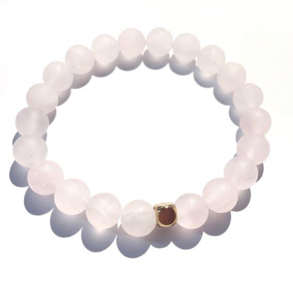 Love stoned: Matte Rose Quartz Beaded Bracelet gold plated knot cover, gemstones, love, valentines, yoga, her, gifts, bridal, mala, meditate