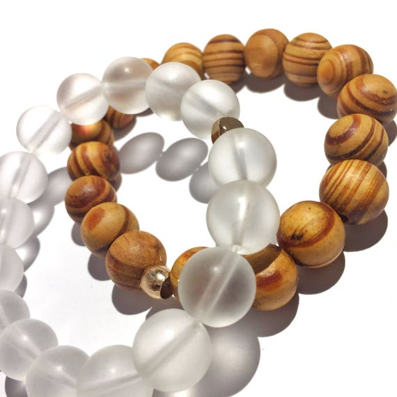 Wisdom & Focus Stack: Matte Clear Quartz and wood 12mm oversized Beaded Bracelet gold plated knot cover, gemstone, love, wander, yoga, him,