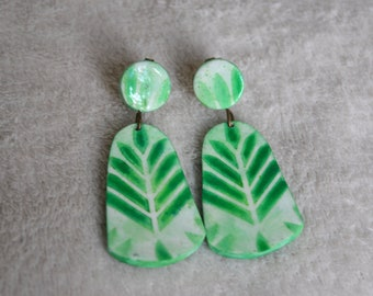 Earrings long fimo/polymer clay - leaves, green plants on fonb white