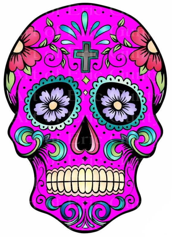 Pink Sugar Skull Halloween Birthday - Edible Cake and Cupcake Topper For Birthday's and Parties! - D22661