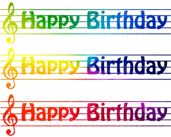 Rainbow Music Band Notes - Birthday Background - Designer Strips - Edible Cake Side Toppers- Decorate The Sides of Your Cake! - D22682