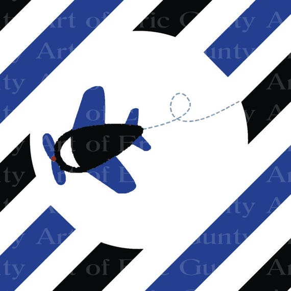 Blue & Black Airplane Birthday - Edible Cake and Cupcake Topper For Birthday's and Parties! - D22742