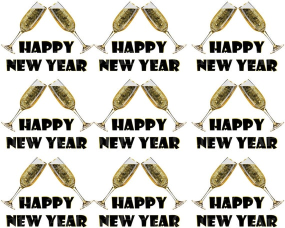 Happy New Year - Designer Strips - Edible Cake Side Toppers- Decorate The Sides of Your Cake! - D22819