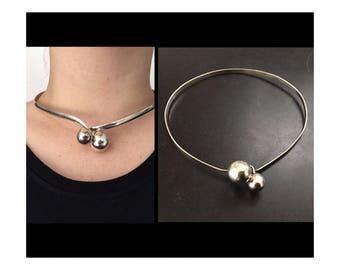 Sterling Silver Choker, Modernist Silver Jewelry, Choker Necklace, Minimalist Choker,  Ball Collar Necklace