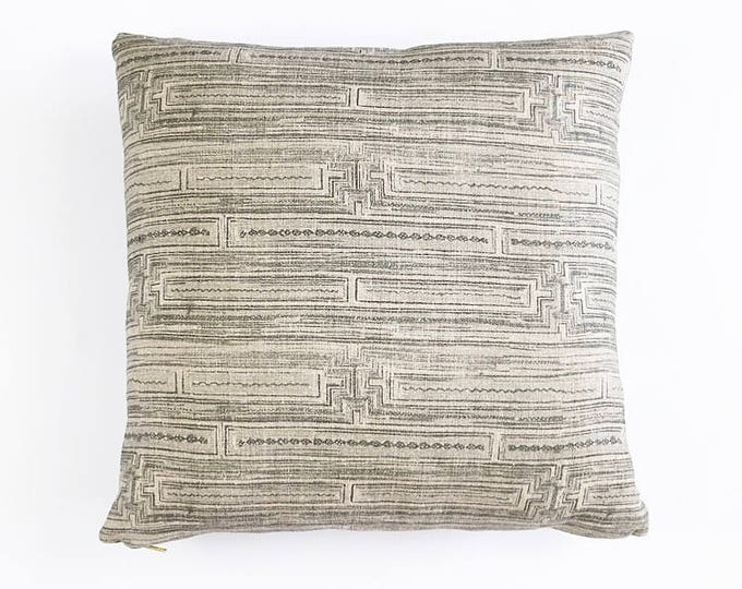 READY TO SHIP Gray Chinese Batik Tribal Linen Textile Pillow Cover 18x18