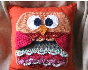 Pillow with crochet owl shape orange crochet single square decoration handmade owls collectors gift idea home decor color point furniture