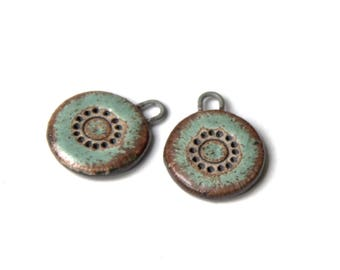 A pair of SMALL stoneware pendants, RUSTIC and EARTHY ceramic beads - handmade jewelry components