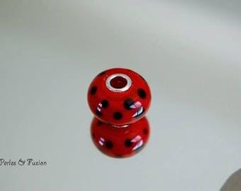 Glass bead spun - big hole silver - * dot * red/black