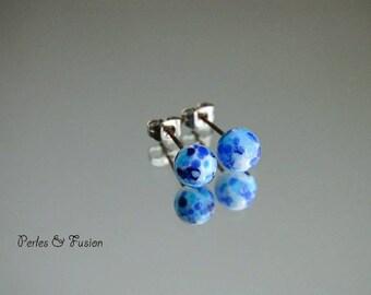 Earrings glass Lampwork * art * tones Blues