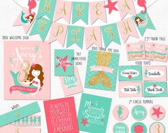 Mermaid Birthday Coordinating Printables | Under the Sea Banner | Mermaid Favor Tags  | Mermaid Welcome Sign | DIGITAL FILES