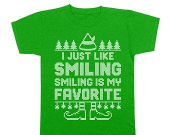 Smiling's My Favorite The Elf Funny Christmas Movie Cosutme Youth T-Shirt DT1636