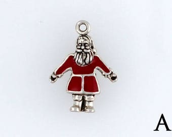 Sterling Silver Enamel Santa Claus Charm, Choice of Adapter or Necklace