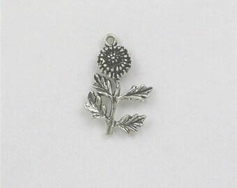 Sterling Silver 3-D 25mm Dandelion Charm