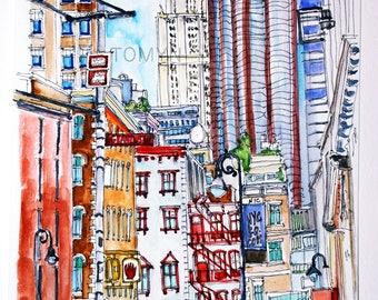 MANHATTAN. NYC. Grand St. New York painting. Original NYC Watercolor.
