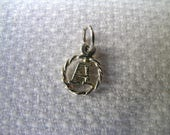 Sweet little unusual vintage 925 sterling silver letter 'A' initial charm or pendant
