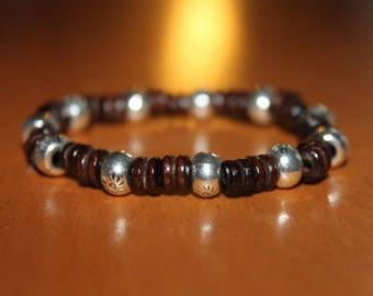wooden bead and metal bracelet