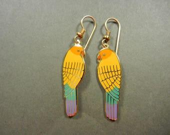 Laurel Burch Lorikeets, rare Laurel Burch, Laurel Burch parakeets, Laurel Burch yellow parakeets, mint Laurel Burch, Laurel Burch earrings