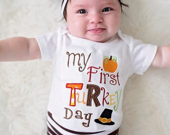 My First Turkey Day - Baby Girls Boys Thanksgiving Bodysuit , Shirt - Baby's First Thanksgiving Outfit -  My First Thanksgiving - Knot Hat