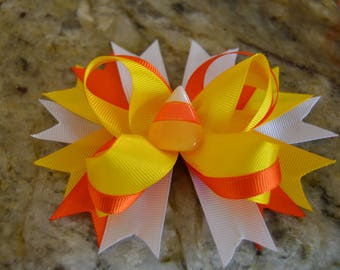 Candy Corn Hair bow, Halloween Hair bow, boutique style hair bow, Stacked Hair bow, Birthday Hair bow, Yellow Orange and White Hair bow